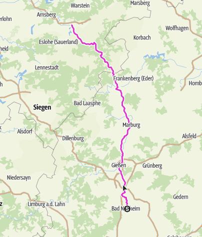 Karte / Pink Ribbon Tour 2019 - Etappe 4 von 14 (Bad Nauheim-Meschede) München - Hamburg - Konstanz