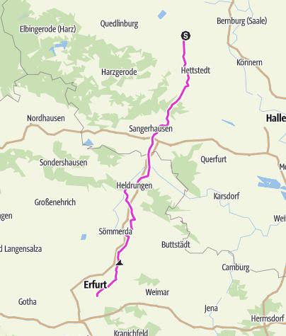 Karte / Pink Ribbon Tour 2019 - Etappe 10 von 14 (Aschersleben-Erfurt) München - Hamburg - Konstanz