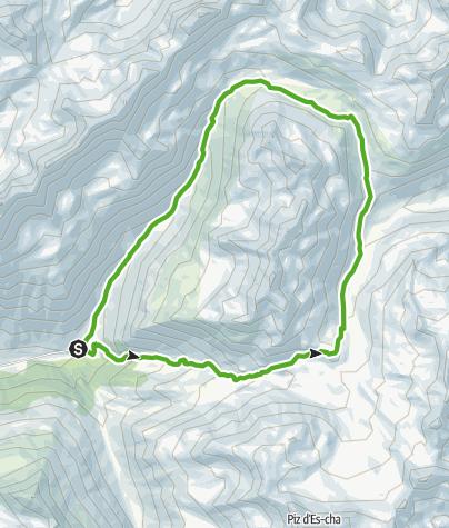 Karte / Kesch-Hütte - Val Ravais-ch