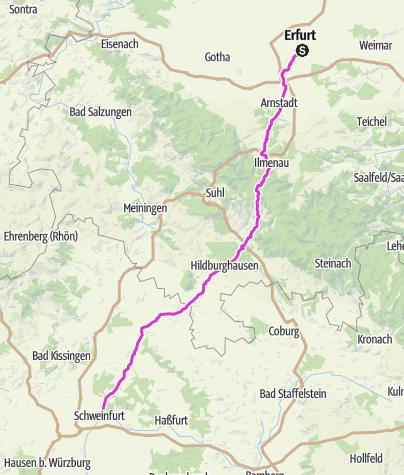 Karte / Pink Ribbon Tour 2019 - Etappe 11 von 14 (Erfurt-Schweinfurt) München - Hamburg - Konstanz