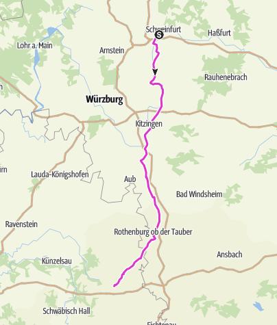 Karte / Schleifenroute DE 2019 - Teamradtour München-Hamburg-Konstanz Etappe 12 von 14 (Schweinfurt-Künzelsau)