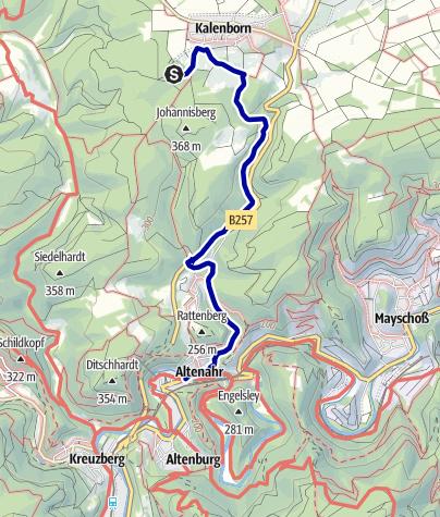 Karte / 14. Ahrtaler Gipfelfest: Kalenborner Hütte - Bahnhof Altenahr