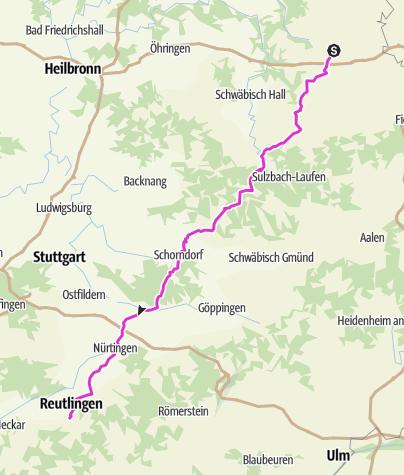 Karte / Pink Ribbon Tour 2019 - Etappe 13 von 14 (Kirchberg an der Jagst-Reutlingen) München - Hamburg - Konstanz