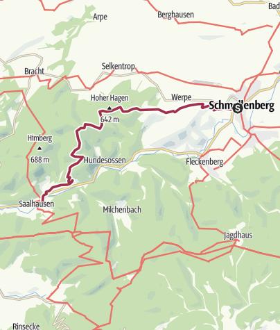 Karte / Wanderung von Schmallenberg