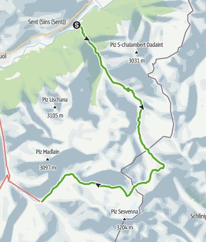 Karte / Sur En - Val d'Uina - Sesvennahütte - Fuorcla Sesvenna - S-charl