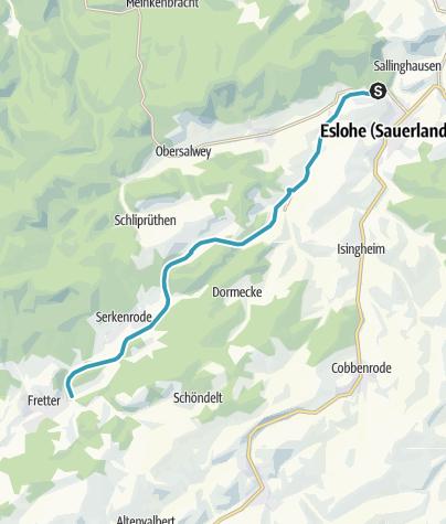 Karte / SauerlandRadring Abschnitt Eslohe - Serkenrode