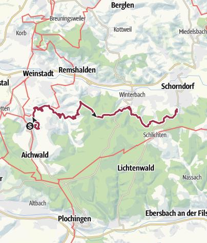Karte / RemstalWeg Etappe 2: von Strümpfelbach nach Schorndorf-Steinmäurich