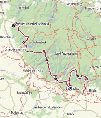 Karte / Harzer BaudenSteig: Gesamtstrecke