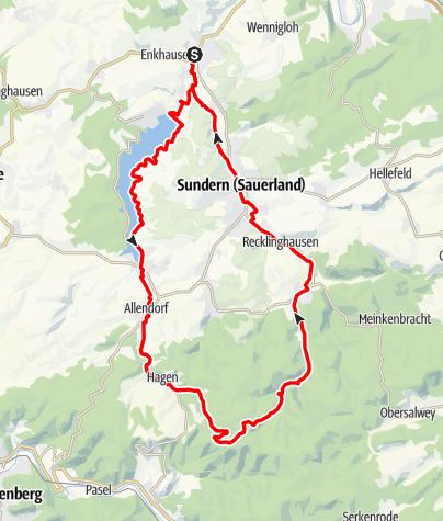 Karte / Entlang der Sorpe zum höchsten Punkt Sunderns