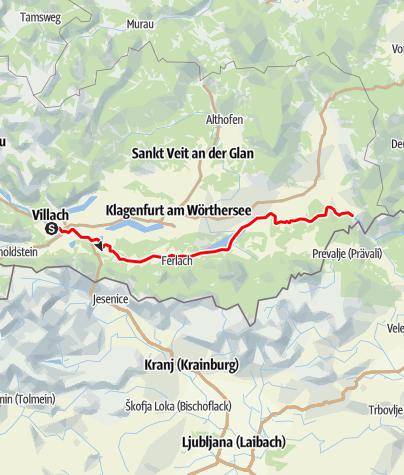 Karte / Draupaddelweg - Abschnitt Ost, Villach-Rosental