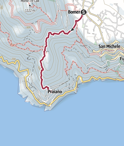 Map / Footpath of the Gods - Bomerano (Agerola) to Praiano
