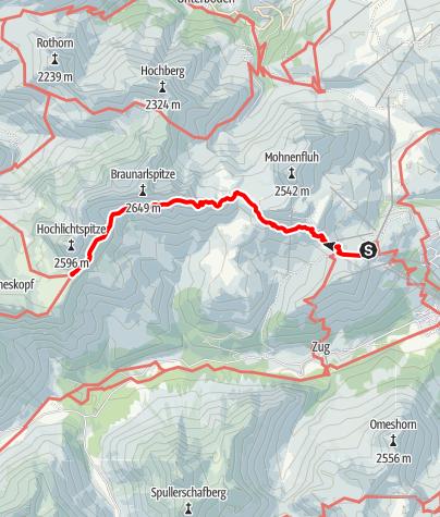 Karte / Zustieg Göppinger Hütte von Bergstation Petersboden