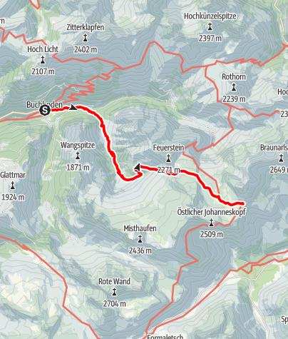 Karte / Zustieg  Göppinger Hütte von Buchboden
