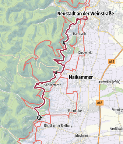 Karte / Pälzer Keschdeweg Etappe 4 Edenkoben bis Neustadt