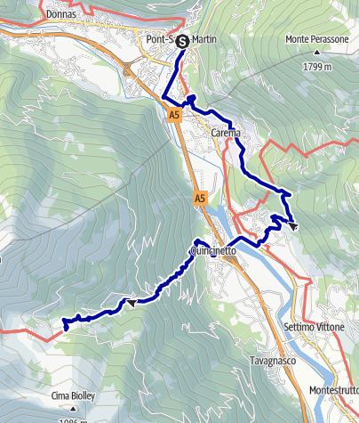 Karte / Pforzheim – Mittelmeer: 32.Etappe Pont-Saint-Martin - Le Capanne