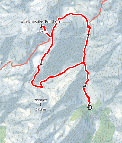 Map / From the Fane Alm mountain pasture to the Wilde See lake up the Wilde Kreuzspitze peak