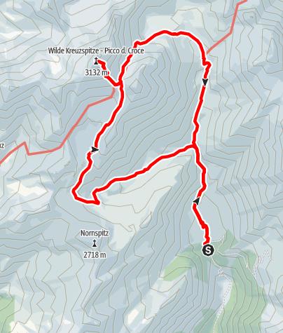 Mapa / Von der Fane Alm zum Wilden See und auf die Wilde Kreuzspitze