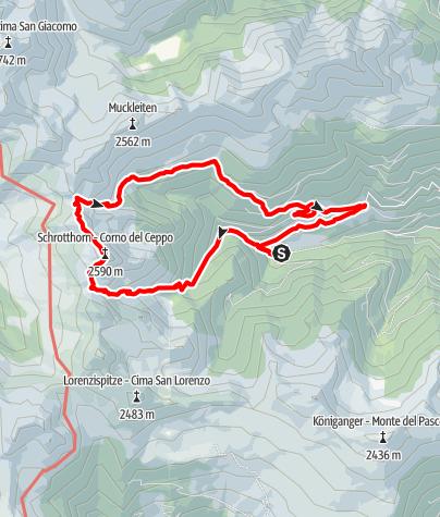 Mapa / Von Schalders auf das Schrotthorn