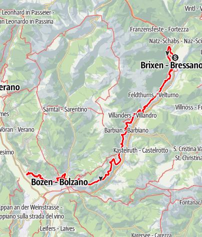"""Kaart / Der """"Keschtnweg"""" vom Kloster Neustift bei Brixen bis zur Bilderburg Runkelstein in Bozen."""