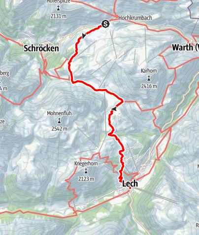 Karte / Vom Hochtannbergpass über den Körbersee nach Lech