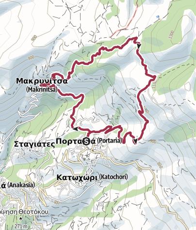 Map / Portaria Loop via Makrinitsa