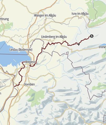 Map / The Camino de Santiago from Missen via Scheidegg and  the ridge of the Pfänder to Bregenz (variation)