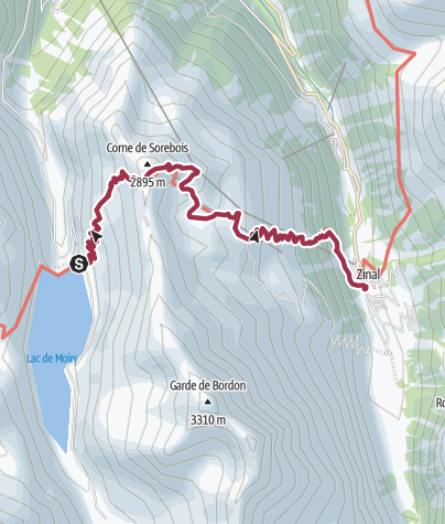 Map / Barrage de Moiry/Grimentz to Zinal