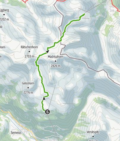 Karte / Madrisarundtour Etappe 1 - in 2 Tagen von der Schweiz ins Österreich und wieder zurück!