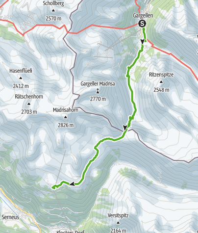 Karte / Madrisarundtour Etappe 2 - in 2 Tagen von der Schweiz ins Österreich und wieder zurück!