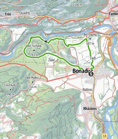Map / Rhine Gorge hike: Bot Tschavier (656.7)