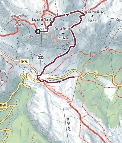 Karte / AV1 Segment G Alt. - Rifugio Lagazuoi to Rifugio Col Gallina