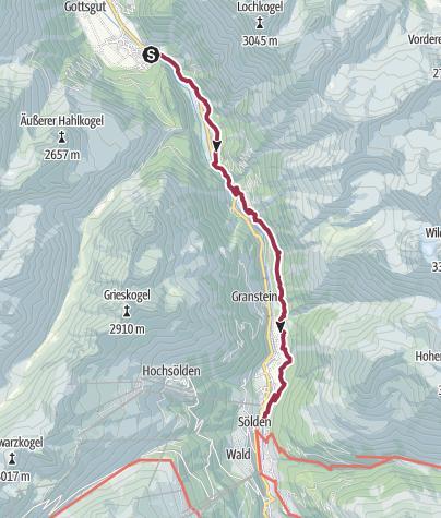 Map / Alternative Walk - Huben to Sölden