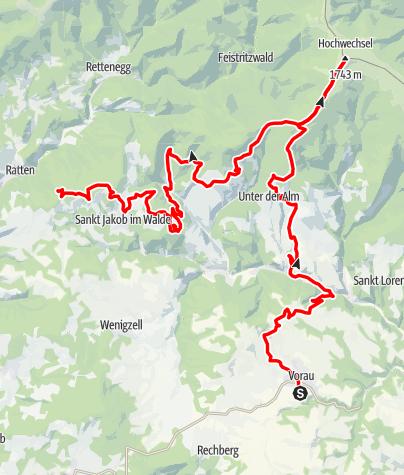 Karte / Der große Jogl - Etappe 1: Vorau - St. Jakob im Walde