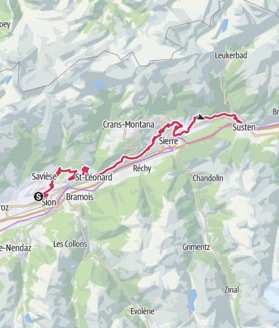 Cartina / Weinweg Sion-Leuk (Etappe 2)