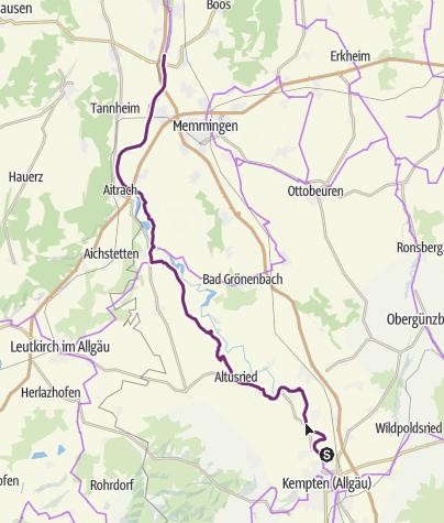 Karte / Illerradweg - Etappe Kempten-Heimertingen