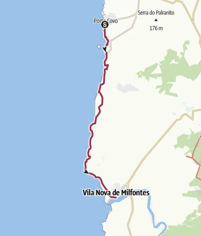Map / Porto Covo to Vila Nova de Milfontes