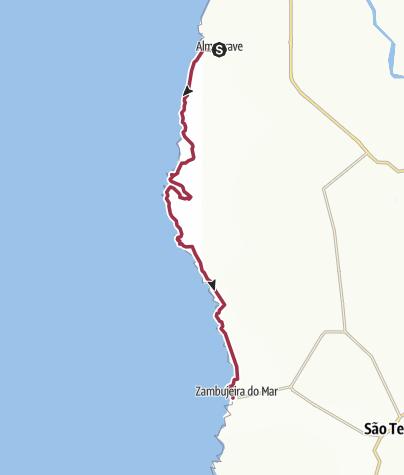 Kaart / Almograve to Zambujeira do Mar