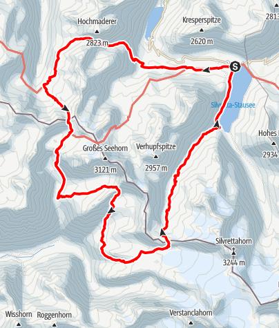 Kaart / Silvrettarunde über Silvrettagletscher