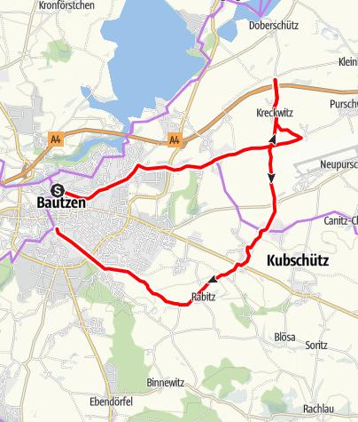 """Karte / Radeltour 4 - die """"itz/-schütz""""-Tour"""