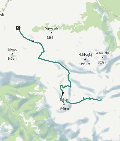 Map / Explore Mt Lelija from Obalj via Drhtar and Javić peaks