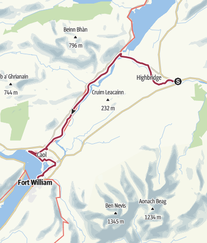 Map / Spean Bridge to Fort William