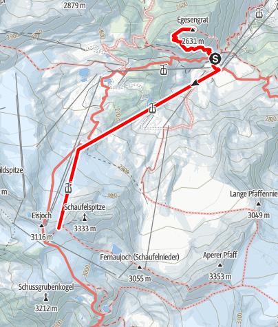 "Mapa / Rundweg Dresdner Hütte und ""Top of Tyrol"" - Ausblick auf hunderte Gipfel"