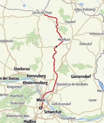 "Karte / Bahnlinie ""Laaer Ostbahn"" Wien - Laa/Thaya"