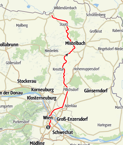 "Mapa / Bahnlinie ""Laaer Ostbahn"" Wien - Laa/Thaya"