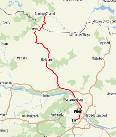 "Mapa / Bahnlinie ""Nordwestbahn"" Wien - Retz - Znaim"