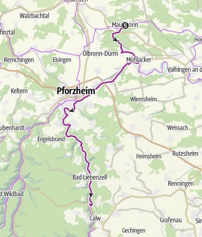Karte / Radweg entlang der Klosterroute Nordschwarzwald - Etappe 1