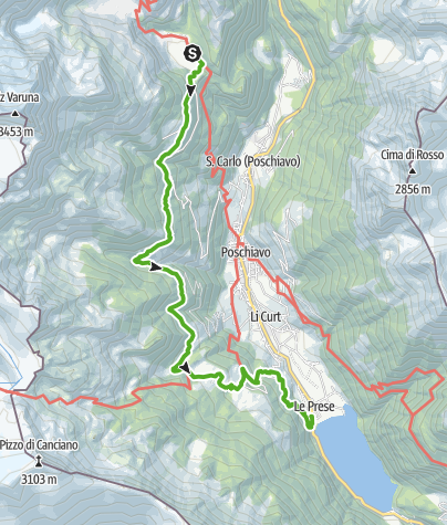 Map / Cavaglia - Le Prese (Höhenweg)