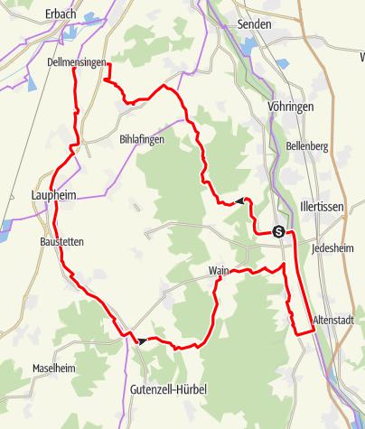 Karte / Alb-Donau-Kreis Radtour 13 - Zwischen Iller und Donau