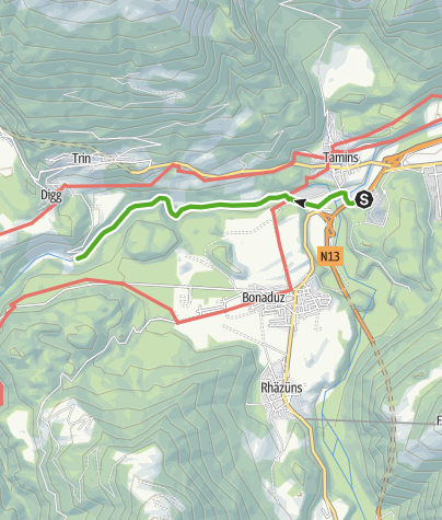 Map / Rhine Gorge Railway Hike: Reichenau - Trin Station