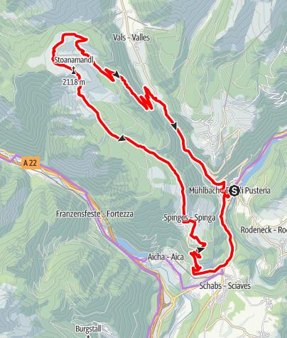 Carte / Mühlbach-Steiner Mandl (Jochtal) - Vals -Mühlbach